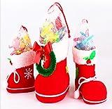 Homecube キャンディー袋 お菓子袋 サンタ袋  キュートブーツ 長靴形の袋  クリスマス用 飾り インテリア  大 中 小 3個入り (ミディアム)