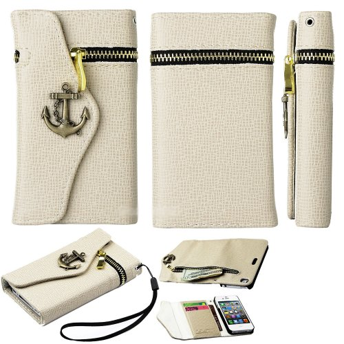 Mylife (Tm) Beige Stylish Anchor Design- Textured Koskin Faux Leather (Lanyard Strap + Card And Id Holder + Magnetic Detachable Closing) Slim Wallet For Iphone 4/4S (4G) 4Th Generation Touch Phone (External Rugged Synthetic Leather With Magnetic Clip + In