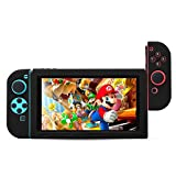 BUBM Soft Silicone Case Anti-slip Protective Cover Seperate bodies Case for Nintendo Switch (Black) (Color: Black)