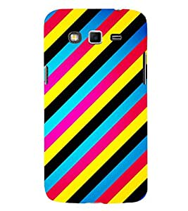 Printvisa Multicoloured Slanting Lines Pattern 3D Hard Polycarbonate Designer Back Case Cover For Samsung Galaxy Grand 3 G720