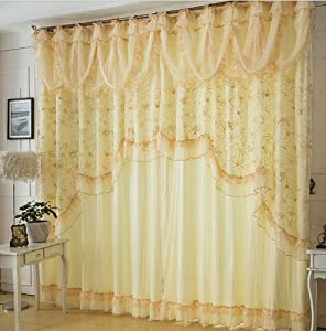 Fadfay home textile custom made curtains beautiful korean lace ruffle curtains - Amazon curtains living room ...