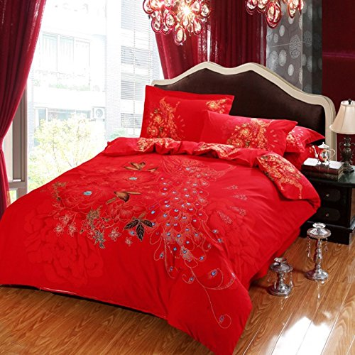 Lt Queen King Size 100% Cotton Thickening Sanded Soft 4-Pieces Peacock Red Floral Prints Duvet Cover Set/Bed Linens/Bed Sheet Sets/Bedclothes/Bedding Sets/Bed Sets/Bed Covers/5-Pieces Comforter Sets (5, Queen) front-667942