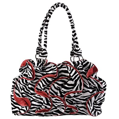 Journee Collection Womens Ruffled Zebra Print Slouchy Handbag