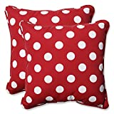 Pillow Perfect Decorative Red/White Polka Dot Toss Pillows, Square, 2-Pack