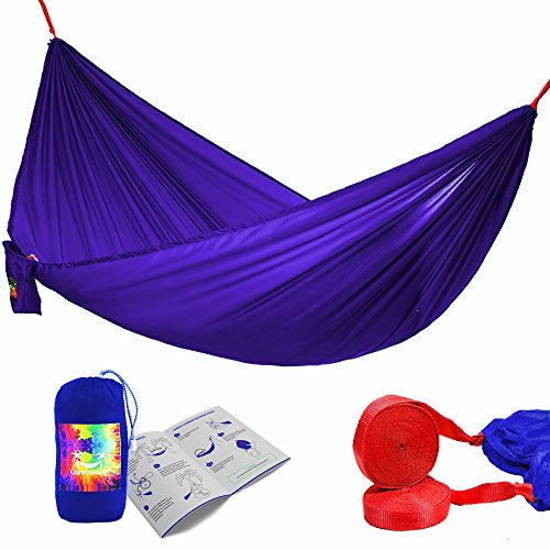 Premium Double Camping Hammock - Lightweight and Strong Portable Parachute Hammock Bed - FREE Long 16 ft. Tree Straps + EXTRA Wind & Sun Protection + Instruction - for Travel, Hiking, Beach, Yard (Blue Ridge Hot Tub Filters compare prices)