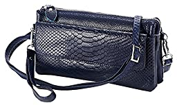 Heshe Soft Leather Crocodile Clutch Organizer Purse Shoulder Crossbody Wrislet Bag Satchel Purse Handbag for Women Hot Sell (Navy Blue)