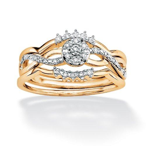 PalmBeach Jewelry 10k Gold Round Diamond 3-Piece Wedding Ring Set