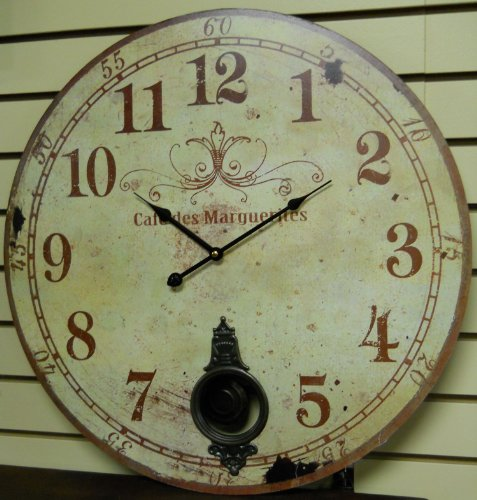 Wise selection large 23 wall clock with pendulum antique french provincial style large wall - Stylish pendulum wall clock ...
