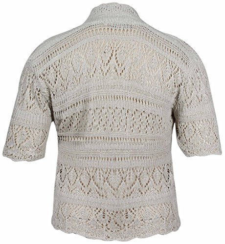 PurpleHanger Women's Plus Size Knitted Bolero Shrug Cardigan Cream 20-22