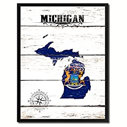 Michigan State Flag Map Art Picture Frame Vintage Office Interior Wall Home Decor Cottage Chic Gift Ideas, 18''x23''