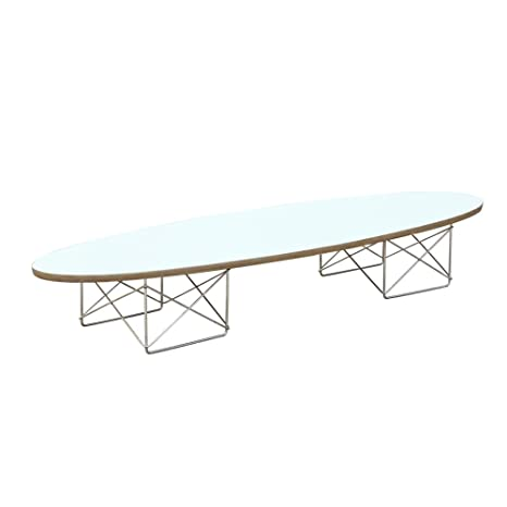 Designer Modern Wire Wood Coffee Table in White