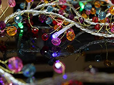 Battery Operated LED String Lights with Red Bead & Purple Bead & Multi Bead Christmas Lights, Party Lights