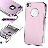 ATC Stylish Premium Chrome Brushed Aluminum Hard Back Case Cover -Pink- for Apple iPhone 4 4G 4S Black/White + Free Screen Protector & Touch Stylus