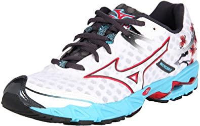 Mizuno Women's Wave Precision 12 Running Shoe,White/Chinese Red-River Blue,6 M US