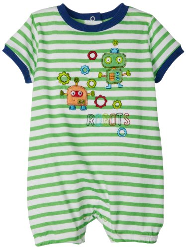 Absorba Baby-Boys Newborn Robot Stripes Creeper, Green, 3-6 Months