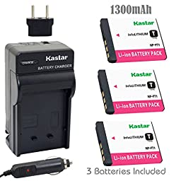 Kastar Battery (3-Pack) and Charger Kit for Sony NP-FT1 work with Sony DSC-L1, DSC-L1/B, DSC-L1/L, DSC-L1/LJ, DSC-L1/R, DSC-L1/S, DSC-L1/W, DSC-M1, DSC-M2, DSC-T1,DSC-T3, DSC-T3/B, DSC-T3S, DSC-T5, DSC-T5/B, DSC-T5/N,DSC-T5/R, DSC-T9 DSC-T10, DSC-T10/B, D