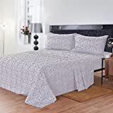 Maine Street Living Microfiber Baroque and Solid Sheet Set, Twin, Gray, 2-Pack