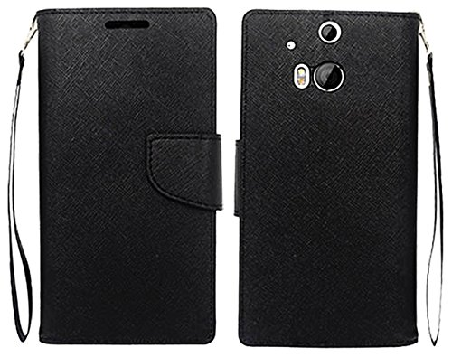 Mylife Panther Black {Modern Tab Design} Faux Leather (Card, Cash And Id Holder + Magnetic Closing) Slim Wallet For The All-New Htc One M8 Android Smartphone - Aka, 2Nd Gen Htc One (External Textured Synthetic Leather With Magnetic Clip + Internal Secure