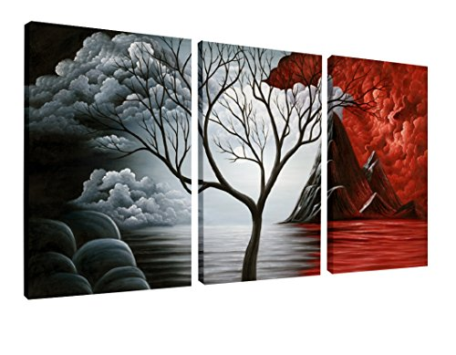 Wieco Art the Cloud Tree Canvas Print for Abstract Painting Modern Canvas Wall Art for Wall Decor 12x16inchx3pcs AB3006