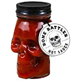 Deadly Skull Hot Sauce: Bone Rattler Edition   Skull Mason Jar Filled With Fiery Hot Sauce to be Put On Pizza, Salads, Tacos, and More (15.2 fl oz) (Tamaño: 1 Pack)