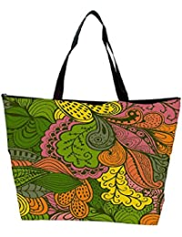Snoogg Vector Abstract Texture With Abstract Flowers Endless Background Ethnic Waterproof Bag Made Of High Strength...