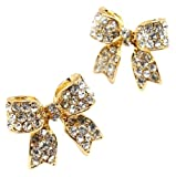 Adorable 3/4 Ribbon Bow Stud Earrings with Sparkling Clear Austrian Crystals - Gold Tone