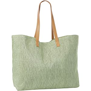 Magid Striped Metallic Paper Straw Tote,Green,One Size