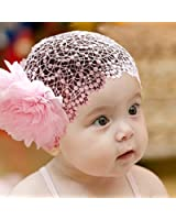 Baby Girl Toddler Cute Lace Wide Headband with Big Flower Stretch Headwear (Pink)