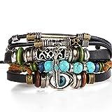 Rurah Bohemia Style Bracelets Multi-layer Charms Retro Blue Eyes Turquoise Bracelet for Women