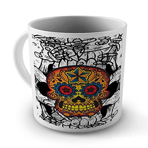 Sugar Skull Orange Tattoo Colourful Mug Cup Gift For Office Home Work