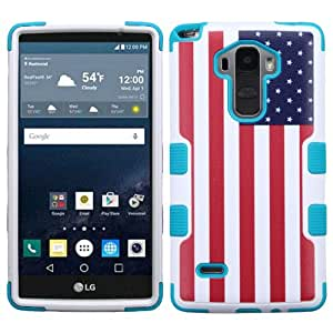 LG G Stylo Case, LG G Vista 2 Case, Rock Me Wireless (TM) 2 items Bundle - 24K Gold Plating Sticker and Triple Layers Protector Case Cover. (American Flag)