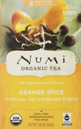Numi Organic Tea White Orange Spice, Full Leaf White Tea,1.58 Oz, 16 Count Tea Bags