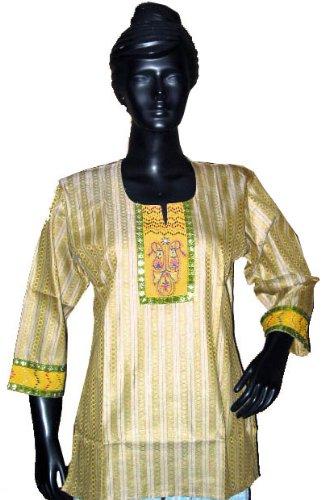 Designer Tunic- Yellow Yoga Tunic Kurtis Top Womens Cotton Kurta S