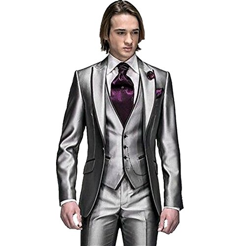 MYS Men's Custom Made Groomsman Tuxedo Suit Pants Vest and Tie Set Silver Size L