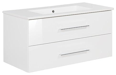 Fackelmann lavabo sospeso 100cm Bianco Lucido Con Ceramica bacino Serie B. perfetto