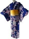 女性用 浴衣 2点セット お仕立て上がりゆかたブルー ラメ帯イエロー 【SFS-02】