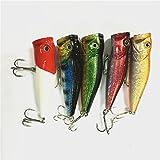 【ノーブランド品】01Z0F06 5魚/バッグ 釣具 7cm / 10g ポッパー ベイト ステンレス フック ルアー・フライ ハードルアー 定番カラー 5色