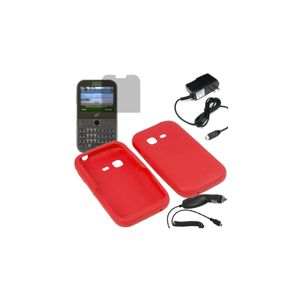 BW Silicone Sleeve Gel Cover Skin Case for Tracfone, Net 10, Straight Talk Samsung S390G+ LCD + Car + Home Charger  Red Cell Phones & Accessories
