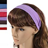 Simple Solid Color Stretch Headband - Multicolor (8 Pcs)