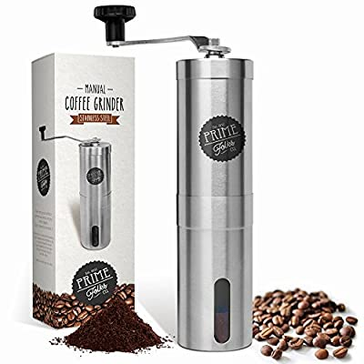 Prime Folks Co. Hand Coffee Grinder & Brewing Tips EBook ~ Stainless Steel Manual Coffee Bean Mill with Adjustable Ceramic Burrs ~ Compatible with Aeropress for Compact Travelling from Prime Folks Co.