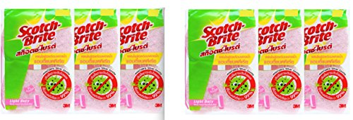 3M Scotch Brite Light Duty Sponge Antibacterial -12 count/ Pink color,Includes Silver Zeolite Substance- Silver Zeolite Substance can reduce odor and bacteria for more than 99% (Scotch Guard Couch Cover compare prices)