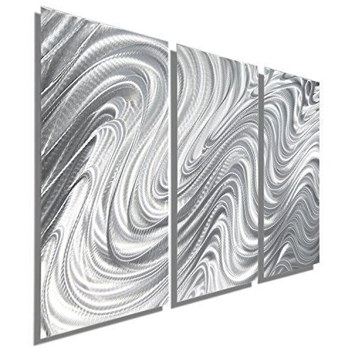 Silver Contemporary Metal Wall Art Sculpture - Modern Abstract Tryptych Wall Decor by Jon Allen - Hypnotic Sands 3 - 38