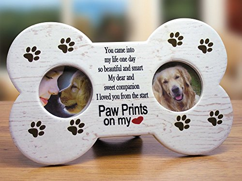Dog Memorial Frame -- Dog Bone Shaped Double Picture Frame - Paw Prints on My Heart Poem Is Printed on a Light Tan Background with Brown Paw Print Decorations - Makes a Great Pet Remembrance Gift, Loss of a Dog, Dog Memorial -- 9 X 5.5 Inch (Dog Picture Frame Memorial compare prices)