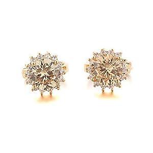 QTLI Sjeweler Female Fashion Gold-Plated Big Blue Zircon Round Earrings , light brown