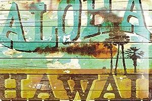 M.A. Allen Retro Tin Sign U.S. Deco Aloha Hawaii Surfing dream island 20x30 cm Large Metal Wall Decoration Vintage Retro Classic Plaque