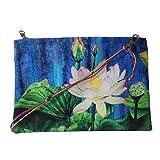 Leaf Designs Blue & Pink Lotus Sling Bag