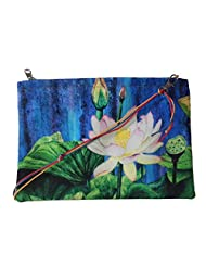 Leaf Designs Blue & Pink Lotus Sling Bag