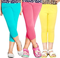 Naughty Nios Girls Cotton stretch capri set of 3 for size 2 to 14 years