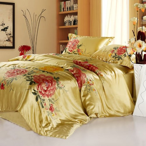 YYfashion 4-piece 100% Pure Natural Silk Bedding quilt 200x230cm bed sheet 230x250cm Pillowcase 48x74 + 6 cm for full queen bed size Floral Design Golden