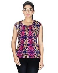 Kiosha Multi-Coloured Round Neck Printed Sleeveless Regular Fit Top for Women